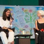 Graphic Recording auf dem Ecomony & Consciousness VisionLab - Thomas Hübl und Scila Elworthy vor dem Bild